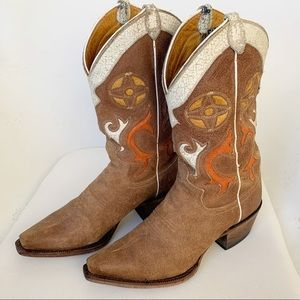 JUSTIN tan suede leather boots cowboy boots